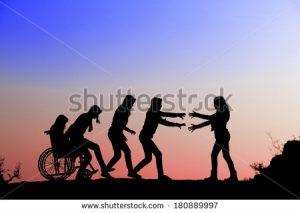 A girl on wheelchair